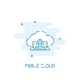 public cloud line concept simple line icon vector image