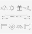 purim holiday flat design black thin line icons vector image