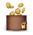 realistic bitcoin wallet brown vector image vector image