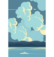 seascape in blue colors in cartoon style vector image