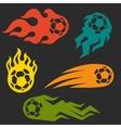 set elements fire soccer balls for design vector image