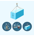 Set icons with container the cranes vector image vector image