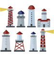 set lighthouses icon on white background vector image