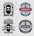 set vintage barber shop logos labels or badges vector image