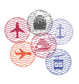 ship and airplane and cableway travel circular vector image vector image