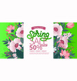 spring background with green leaves and flowers on vector image vector image