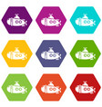 submarine sea icons set 9 vector image vector image