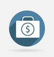 suitcase with money Circle blue icon vector image