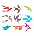 swallow logo icon design set vector image