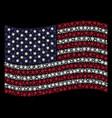 waving american flag stylization of snowflake vector image