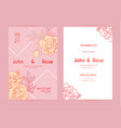 wedding invitation card set with peony flowers vector image vector image