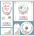Weddingbridal shower invitation cards set with vector image