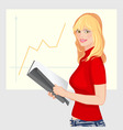 young business woman with folder in hand facing st vector image vector image
