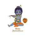 krishna janmashtami greeting card vector image