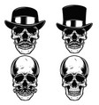 set of skulls in vintage hats skull with vector image