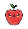 apple fruit cartoon smiley vector image