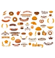 Bakery and pastry food design elements vector image vector image