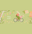 banner with cute easter bunny on a bicycle vector image vector image