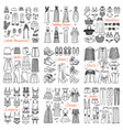 big set of hand drawn fashion clothes and vector image vector image