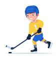 boy plays professional hockey vector image vector image