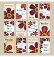 Business cards with doodling flowers vector image vector image