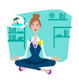 business woman in lotus pose vector image