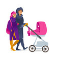 cartoon couple walking winter baby stroller vector image