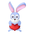 Cartoon rabbit holding red heart balloon Hare vector image