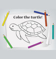 children turtle coloring worksheet vector image vector image