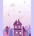 christmas greeting card with house and starry sky vector image vector image