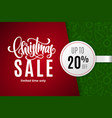 christmas holiday sale 20 percent off vector image vector image