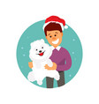 christmas man with a dog vector image vector image
