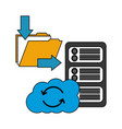 cloud computing with server and folder vector image vector image