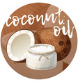 coconut oil in bottle cartoon icon on vector image vector image