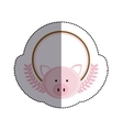 color sticker circle with pig head and olive vector image vector image
