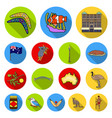 country australia flat icons in set collection for vector image vector image