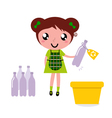 cute girl recycle garbage vector image vector image