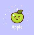 cute green apple cartoon comic character vector image vector image