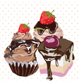 Delicious Desserts on dotted pattern vector image vector image