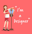 designer character with measure on pink background vector image vector image