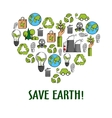 Eco icons creating a heart symbol sketch style vector image vector image