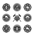Fire department emblems black vector image