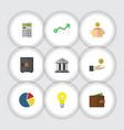 flat icon gain set of billfold money box vector image vector image