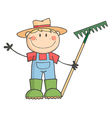 Gardening Kid Waving A Greeting vector image vector image
