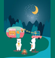 glamping cute couple white bears having happiness vector image