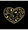 gold heart textured vector image