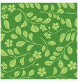 green leaves with flowers on dark green vector image