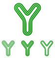 Green line y logo design set vector image vector image