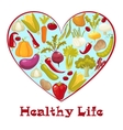 Healthy life Cartoon style heart with healthy vector image vector image