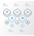 job icons colored set with contract long-term vector image